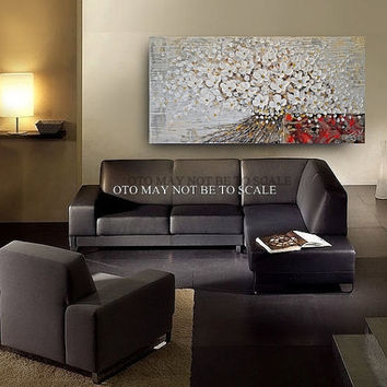 ORIGINAL Painting Large Abstract  Impasto Floral Oil Painting White Blooms Left at the Door By OTO