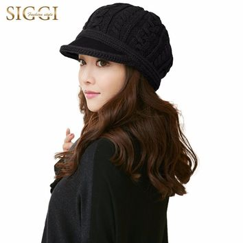 SIGGI Women 100% Wool Knitted Newsboy Hat Visor Autumn Winter Beret Cap Fashion Warm Lady 68261