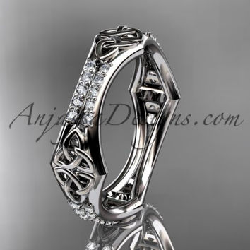 platinum diamond celtic trinity knot wedding band, triquetra ring, engagement ring CT7353B