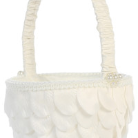 Flower Girl Basket Covered with Flower Petals in White or Ivory (Girls)