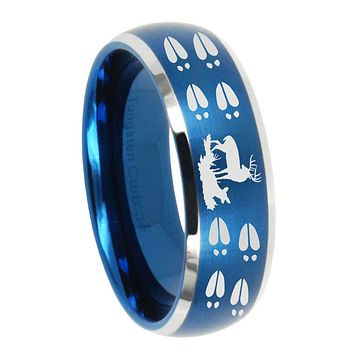 10mm Deer Hunting Tracks Dome Brushed Blue 2 Tone Tungsten Carbide Promise Ring