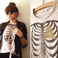 Geometry Of The Heart - Hand Printed Vest - Cream Marl, Size Large