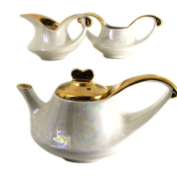Art Deco Afternoon Tea Service Lusterware Warranted 22K Gold by Pearl China American Pottery, Opalescent Teapot, Creamer, Sugar Set