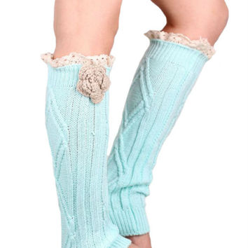 Pastel Blue Lace Floral Decorated Knitted Leg Warmers