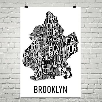 Brooklyn Neighborhood Typography Prints – Modern Map Art