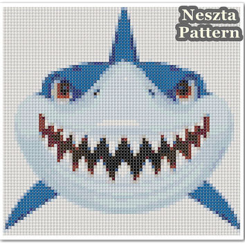 Shark Cross Stitch Pattern, Shark x stitch pattern, colorfull Cross stitch Embroidery, Embroidery pattern