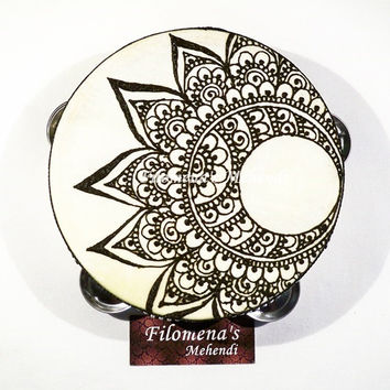 Crescent moon, Mandala tambourine, Moon tambourine, Henna tambourine, Indian wedding, Tribal india, Henna moon, Mehndi moon, Hippie moon