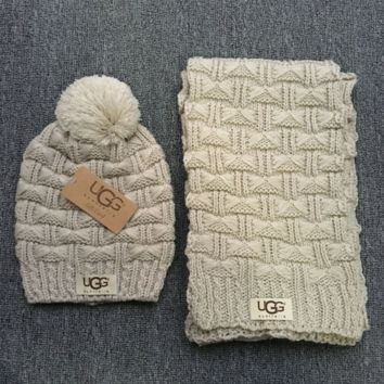 """Gucci"" Fashion Casual Trending Women Winter Knit Warmer Hat Cap Scarf Set Grey G"