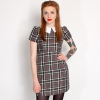 Hearts and Bows Hook Tartan Pointed Collar Dress