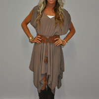 Mocha Tinkerbelle Ruffle Belted Dress