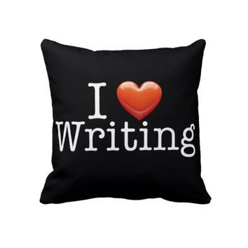 I Love Writing Black Throw Pillow from Zazzle.com