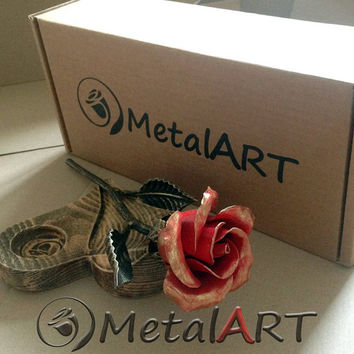 6 year anniversary gift Metal Rose+Wood-Heart Stand tea light Holder - custom engraving - personalized anniversary gift