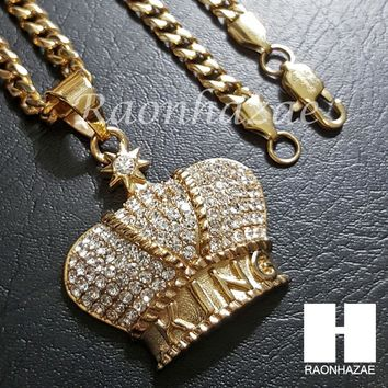 Iced Out 316L Stainless steel Gold  King Crown w/ 5mm Cuban Chain SG08