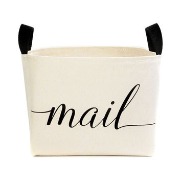 Mail Canvas Storage Bin - decorative mail basket handmade in USA