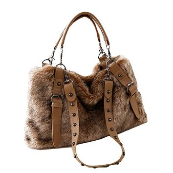 2017 Women Bags Fashion Female Handbags Lady Girls Vintage Rivets Shoulder Bag Big Size Rabbit Fur Tote for Winter Bolsas