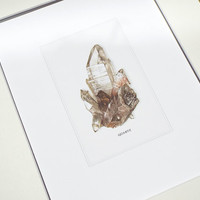 Quartz Crystal Mineral Specimen Archival Print on Watercolor Paper