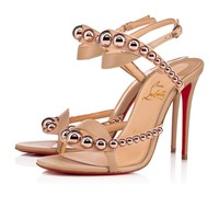Christian Louboutin Cl Galeria Vers Nude/bronze Rose Leather 18s Sandals 1181115h166 - Best Online Sale