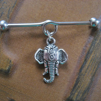 16g Elephant Industrial Barbell Jewelry Piercing Charm Dangle 1 1/2 Inch Bar 16 G Gauge