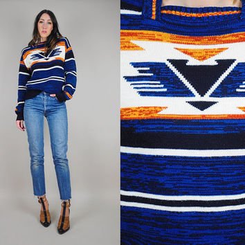70's space dyed NAVAJO stripe sweater