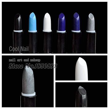 Cosplay Style The Kiss of Death Pure Black White Lipstick Diamond Blue Lipstick Glitter Silver Lip Part Makeup Stick Macchar Cosplay Catalogue