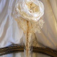 "1 Large 12"" Peony Flower Stem for weddings, table decor, centerpieces. Ivory silk, vintage lace, burlap and natural stem."
