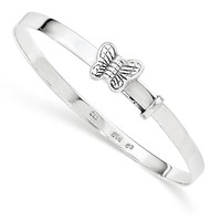 Sterling Silver Polished Butterfly Kids 4mm Adjustable Bangle