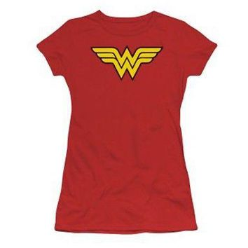 DC Comics Wonder Woman Classic Logo Licensed Women's Junior Red T-Shirt