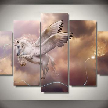 Unicorn Pegasus Wall Art Picture Home Decor Living Room Canvas Print