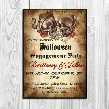 Halloween Engagement Party Invitation Printable Skull Couples Shower Invitation Wedding invitation Rocker invitations Adult Halloween Invite