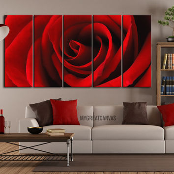 Canvas Print 5 Panel Rose Flower - For Love Rose Flower Wall Art Canvas