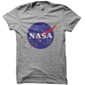 NASA Logo T-Shirt - emblem space shuttle rocket challenger discovery apollo gemini kennedy center aerospace program camp