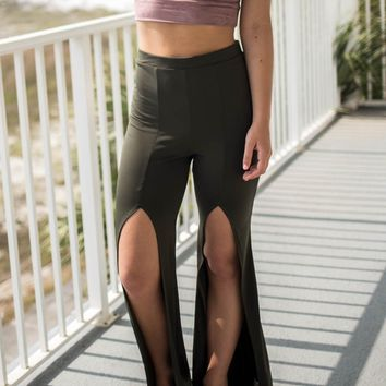 Cancun Cutout Olive Front Slit Pants