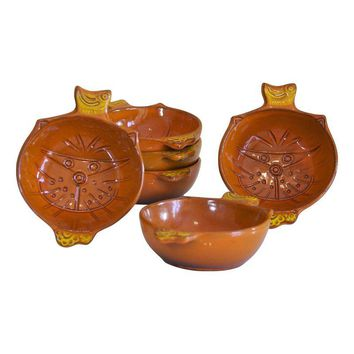 Pre-owned Vintage Orange Kitty Face Pottery Bowls - Set of 6