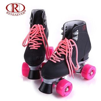 RENIAEVER Roller Skates Double Line Skates Black Women Female Lady Adult With Pink PU 4 Wheels Two line Skating Shoes Patines