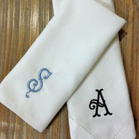 Set of 4 Southern Monogrammed Embroidered Cloth Dinner Napkins - Cotton or Matte Poly-Personalized