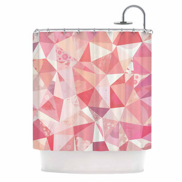 "Nic Squirrell ""Crumpled"" Pink,Geometric Shower Curtain"