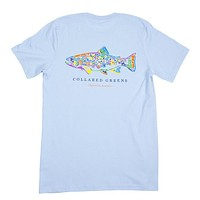 Rainbow Trout Tee in Carolina Blue by Collared Greens