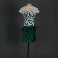 2014 short forest green satin and ivory lace prom dresses,unique chic homecoming gowns hot,sext lace up back dress for wedding party.