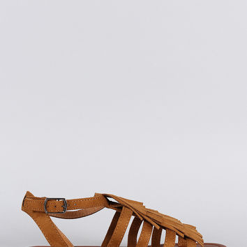 City Classified Suede Fringed Flat Sandal