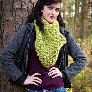 Wool Cowl Neck Warmer - Quality Hand-Knit Chunky Textured Scarf - Choice of Trending Colors
