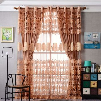Window Curtain Luxurious Upscale Jacquard Yarn Curtains Peony Pattern Voile Door Window curtains for living room