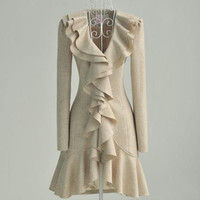 Beige Wool Jacket with Ruffle in Front