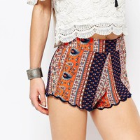 Glamorous | Glamorous Shorts In Festival Stripe Paisley Print at ASOS