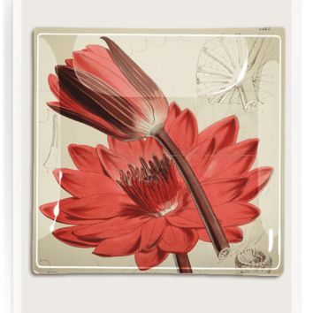 Red Waterlily Decoupage Glass Tray