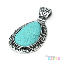 Greek Inspired Teardrop Pendant w/ Turquoise Stone Color: Turquoise