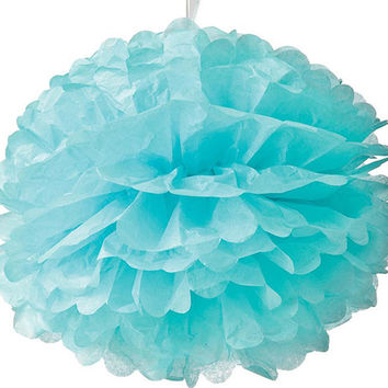 Light Blue Tissue Pom-Pom Pouf
