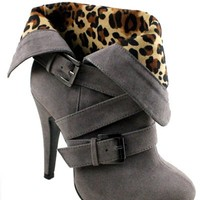 """Brandy"" High Heel Bootie-Grey"
