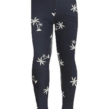 Girl's Palm Tree Leggings Tropical Plants Blue/White: S/L