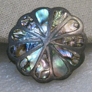 Vintage Sterling Inlaid Abalone Brooch Pendant, Mexico, 1960's-1970's, 5.23gr., 1.5""