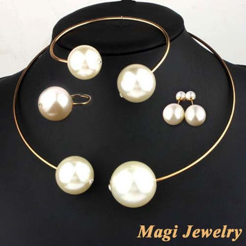 Fashion Jewelry Sets Huge Imitation Pearl Necklace and Bangle Earrings Rings Statement Women Vogue with Rhinestone free shipping